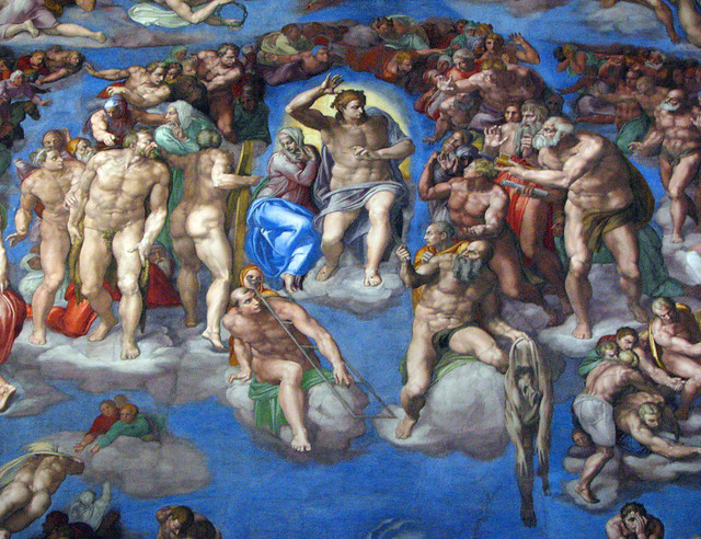 Image close-up from the Sistene Chapel by Michelangelo, known as the Final Judgment.